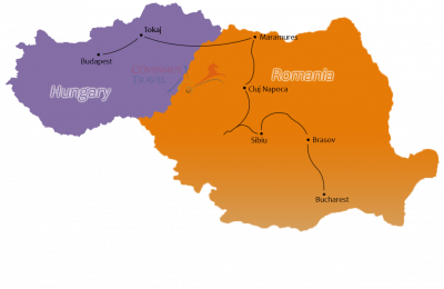 Treasures of Romania and Hungary Tour Map